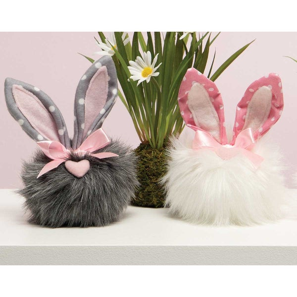 PINDOT COTTONTAILS WITH POLKA DOT BUNNY EARS, HEART NOSE AND PINK BOW PINK/GREY