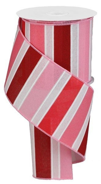 "4""X10yd Bold Stripes On Royal Powder Pink/Red/Wht"