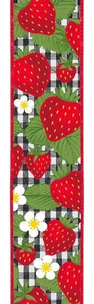 """4""""X10yd Strawberries On Check Red/Bl/wh"""