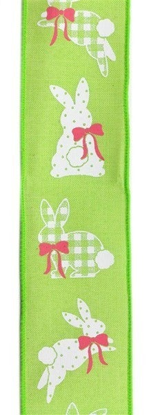 "2.5""X10yd Patterned Bunnies On Royal Bright Green"