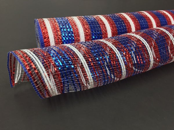 RED-WHT-BLUE ALL METALLIC MESH 21'X10YD