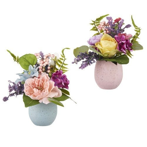 """9"""" PEONY AND ROSE IN EGG ARRANGEMENT"""