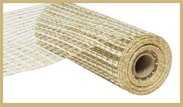 """10""""X10yd Wide Double Stripe Mesh Champagne/Red/Emerald/Ivory"""