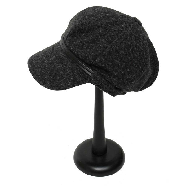 Dark Grey Polka Dot Slouch Hat with 2 Buttons and Straps
