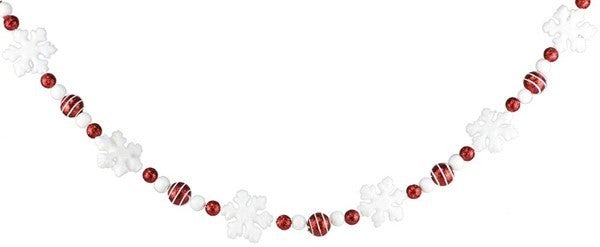 5' Glittered Snowflake/Ball Garland Red/White