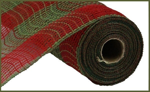 """10.5""""X10yd Fabric Mesh Faux Jute/Pp Large Check Red/Moss Green"""