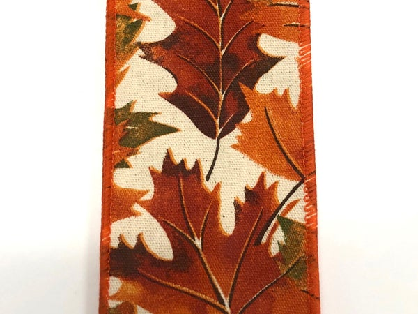 "Ivory Canvas/Fall Leaves 2.5""x10yd"