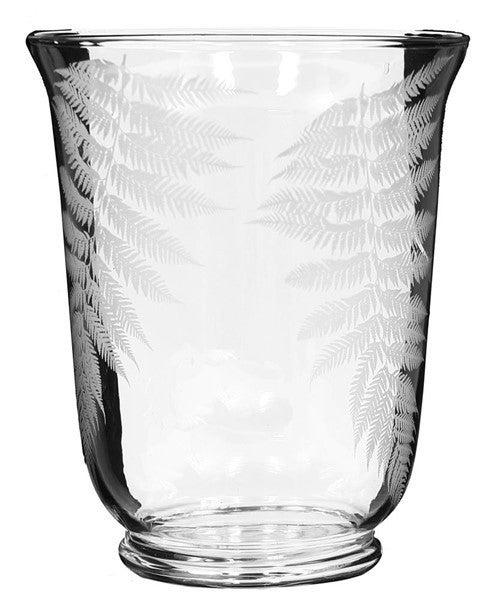 "11""H X 9""Dia Glass Vase W/Fern Leaves"