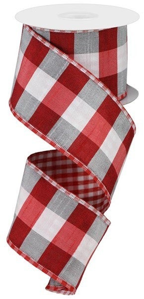 """2.5""""X10yd Large/Small Check Red/White"""
