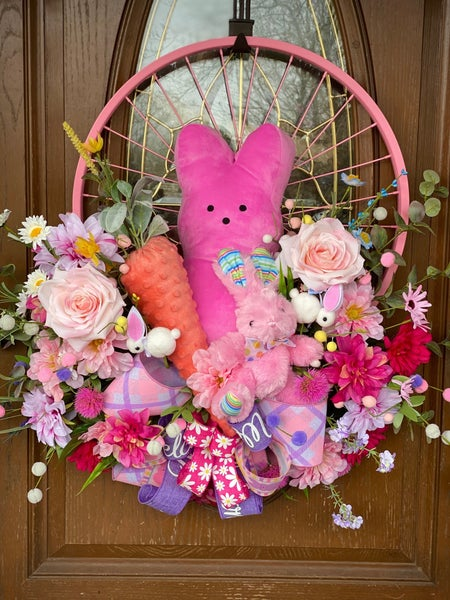 Easter Bicycle Wheel Wreath