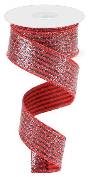 "1.5""X10yd Vertical Stripes W/Glitter Red/Black"