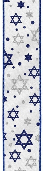 "1.5""X10yd Glitter Star Of David On Satin Color: White/Royal Blue/Silver"