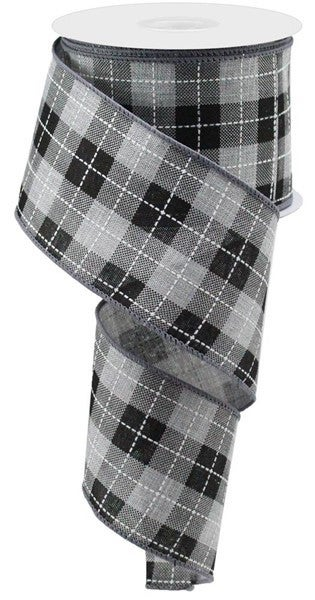 "2.5""X10yd Printed Woven Check On Royal Light Grey/Black"