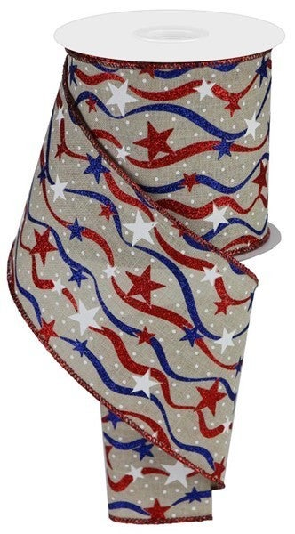 "4""X10yd Stars And Wavy Stripes/Royal Lt Nat/Red/White/Blue"