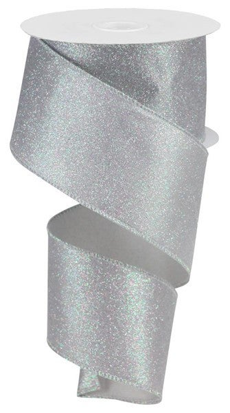 "2.5""X10yd Iridescent Glitter On Satin Grey/Iridescent"