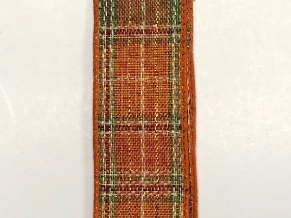 "Course Orange-Moss-Metallic Plaid 1.5""x10yd"