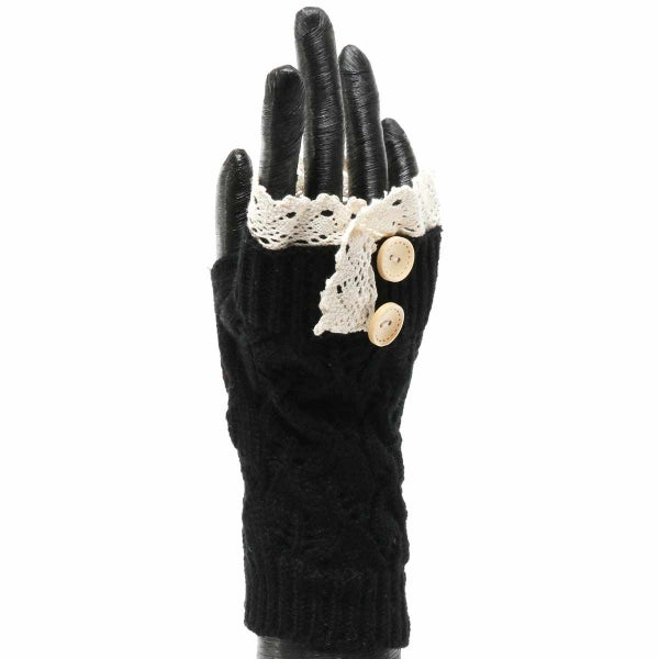 BLACK KNIT FINGERLESS GLOVE WITH LACE AND BUTTONS