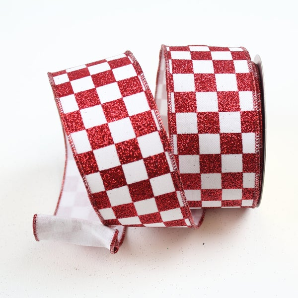 "GLITTER CHECKS  2.5"" X 10YD / RED WHITE"