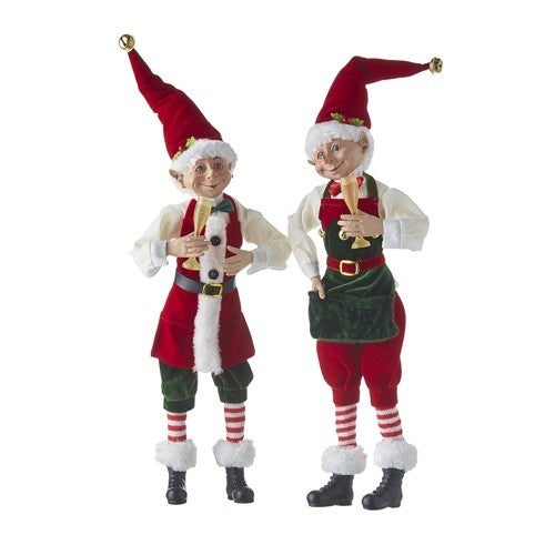 """Country Christmas 16"""" POSABLE ELF WITH CHAMPAGNE GLASS"""