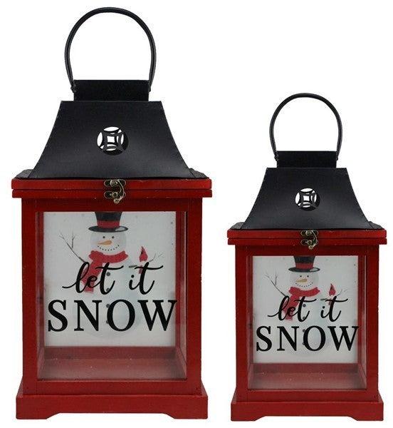"""S/2 13""""-17""""H Let It Snow Lanterns"""