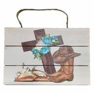 """12"""" X 8"""" Wooden Cross / Bible / Boots Sign w/ Rope - Brown / Blue / Pink / White"""