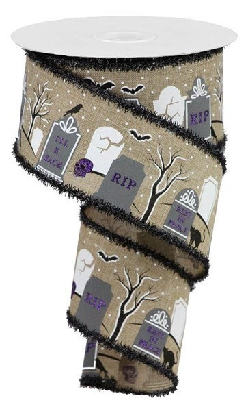 "2.5""X10yd Graveyard/Royal/Tinsel Color: Lt Beige/Grey/Black"