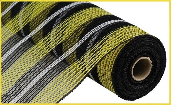 "10.5""X10yd Faux Jute/Pp Stripe Mesh Black/Yellow/white"