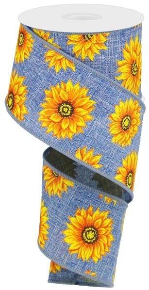 "2.5""X10YD MULTI SUNFLOWERS/ROYAL DENIM/YLW/ORNG/RUST/BRN"