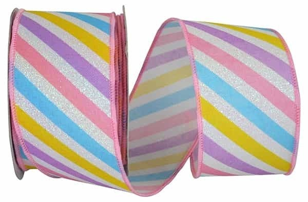 "PASTEL STRIPE DIAGONAL WIRED EDGE 2.5""x10yd"