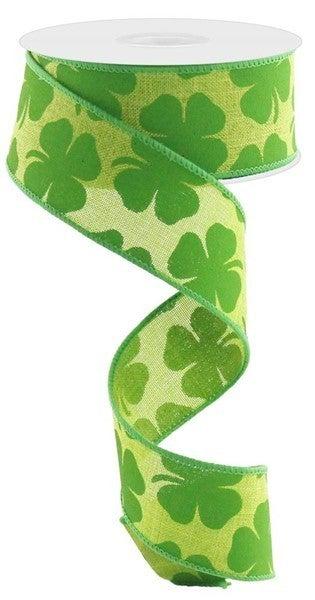 """1.5""""X10yd Shamrock On Royal Color: Fresh Green/Kelly Green"""