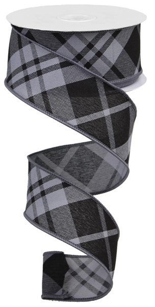 "1.5""X10yd Printed Diagonal Plaid Grey/Black"
