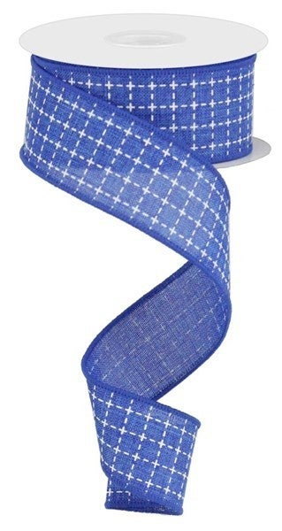 """1.5""""X10yd Raised Stitched Squares/Royal Color: Royal Blue/White"""
