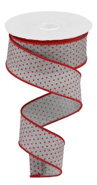 "1.5""X10YD SWISS DOTS ON BURLAP Color: Lt Grey/Red"