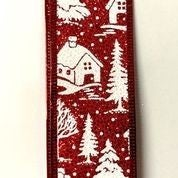 "Red Glitter/White Christmas Snowy Houses 1.5""x10yd"