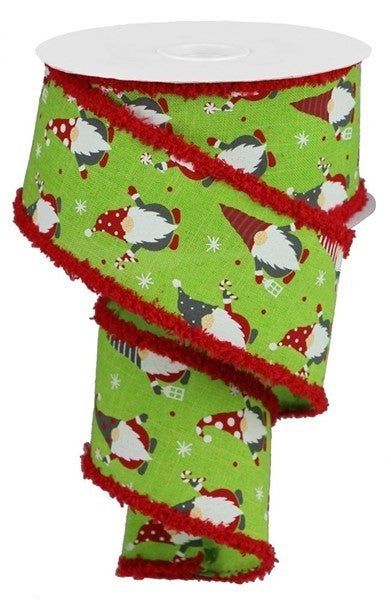 "2.5""X10yd Christmas Gnomes/Royal/Drift Lime/Red"