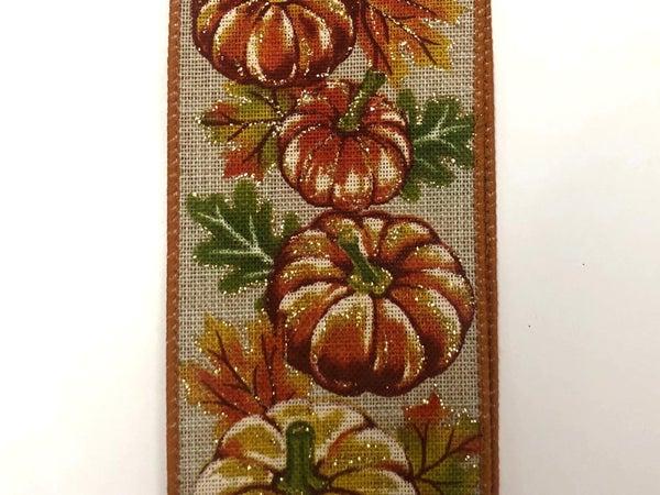 """Nat Linen/Early Fall Pumpkins 2.5""""x10yd"""