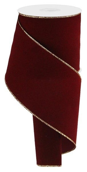 "4""X10yd Indoor Velvet Ribbon Cranberry W/Gold"