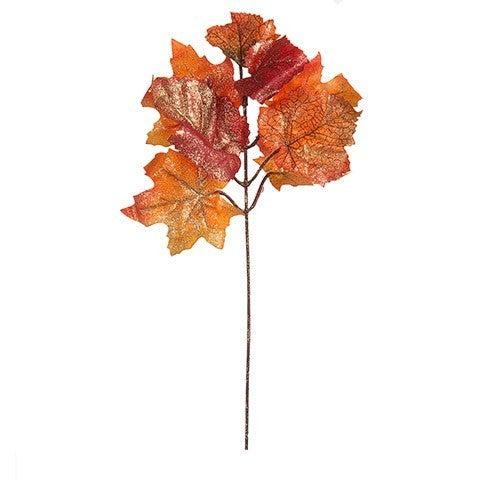 Glitter Maple Leaf Pick: 11 Inches (6 stems)