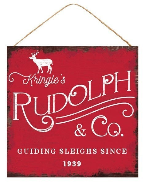 """10""""Sq Kringle's Rudolph & Co Sign"""