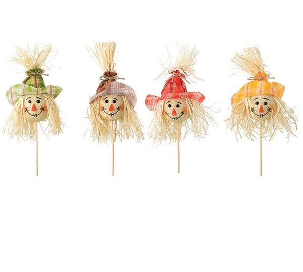 SCARECROW HEAD PICK WITH ASTD PLAID HATS SET of 4
