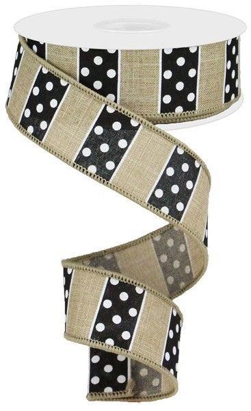 """1.5""""X10yd Polka Dot/Stripes Color: Lt Beige/Black/White"""