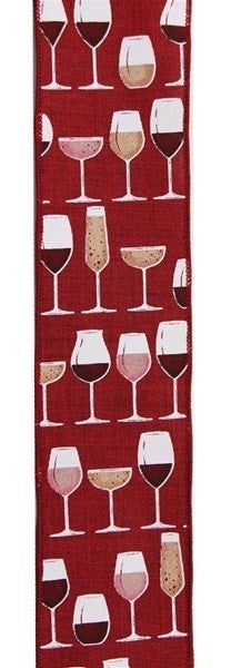 "2.5""X10yd Wine Glasses On Royal Burlap Color: Brgdy/Crm/Wht/Gld/Pnk"