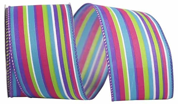 "STRIPES BRIGHT COMBO WIRED EDGE 2.5""x20 Yards multi"