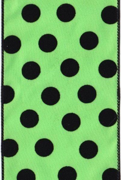 "HAL 59 - 4"" x 10 yds Polka Dot Taffeta Green D. Stevens"
