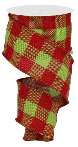 "2.5""X10YD FAUX BURLAP CHECK Color: Red/Fresh Green"