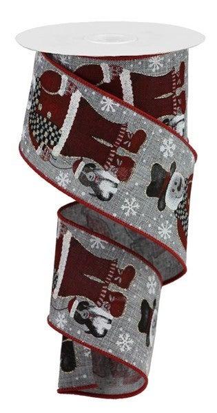 """2.5""""X10yd Santa Snowman W/Dog Color: Grey/Blk/Red/Org/Brn"""