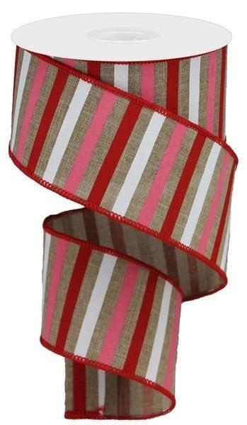 "2.5""X10yd Horizontal Stripe On Royal Color: Lt Beige/Red/Pink/White"