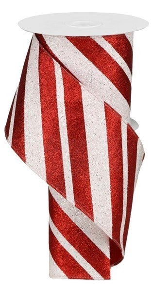 "4""X10yd Giant Diagonal Lines Red/White"