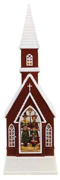 """16""""H X 5""""L Carolers In Church Snow Globe"""