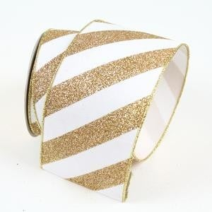 "GLITTER STRIPES  2.5"" X 10YD / GOLD"